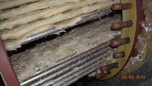Faisceau chauffant dans la chaudière avec de la chaux en vrac