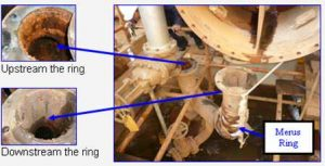 beaucoup de corrosion en amont du Anneau Merus par rapport à la conduite en aval.