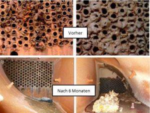 Surface dans un échangeur de chaleur tubulat avant et après l'installation