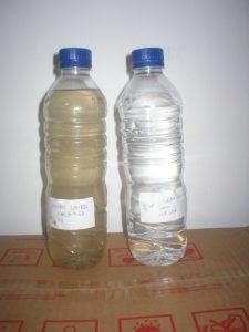 échantillons d'eau brune